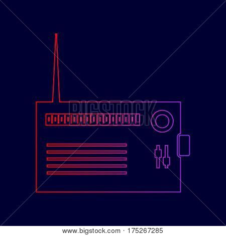 Radio sign illustration. Vector. Line icon with gradient from red to violet colors on dark blue background.