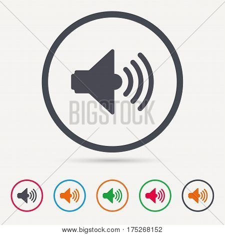 Sound icon. Music dynamic symbol. Round circle buttons. Colored flat web icons. Vector