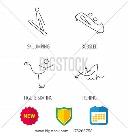 Fishing, figure skating and bobsled icons. Ski jumping linear sign. Shield protection, calendar and new tag web icons. Vector
