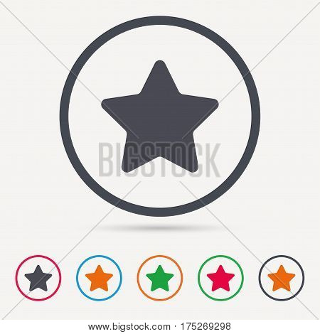 Star icon. Favorite or best sign. Web ranking symbol. Round circle buttons. Colored flat web icons. Vector