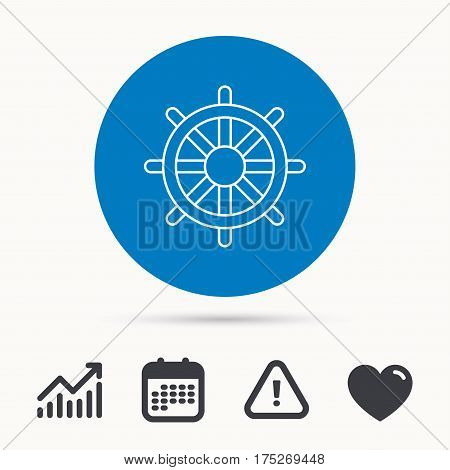 Ship steering wheel icon. Captain rudder sign. Sailing symbol. Calendar, attention sign and growth chart. Button with web icon. Vector