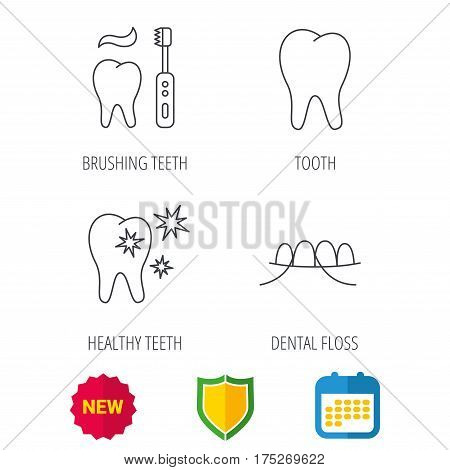 Dental floss, tooth and healthy teeth icons. Brushing teeth linear sign. Shield protection, calendar and new tag web icons. Vector