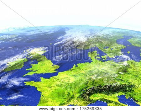 Western Europe On Realistic Model Of Earth