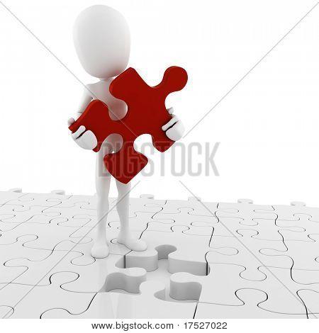 3d man holding a puzzle piece