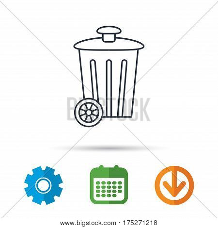 Recycle bin icon. Trash container sign. Street rubbish symbol. Calendar, cogwheel and download arrow signs. Colored flat web icons. Vector