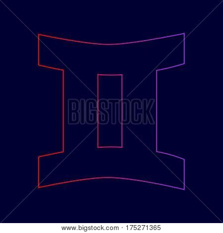 Gemini sign. Vector. Line icon with gradient from red to violet colors on dark blue background.