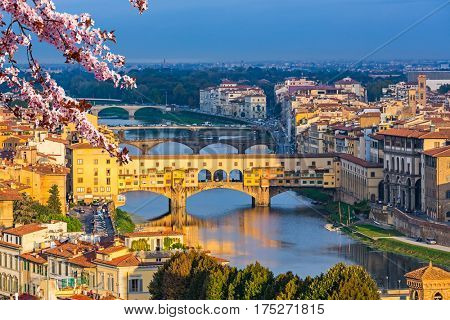 Ponte Vecchio over Arno river in Florence at spring, Italy