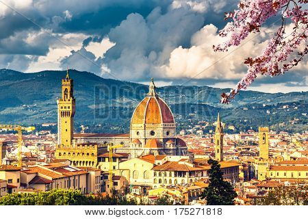 View on Florence and Duomo cathedral at spring, Italy