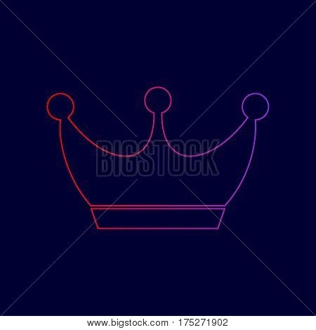 King crown sign. Vector. Line icon with gradient from red to violet colors on dark blue background.