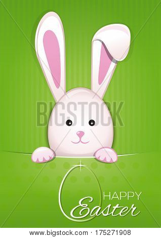 Easter Bunny on a green vintage background. Easter bunny and egg with the inscription - Happy Easter. Vector Easter greeting card