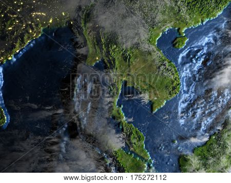 Indochina On Earth At Night - Visible Ocean Floor