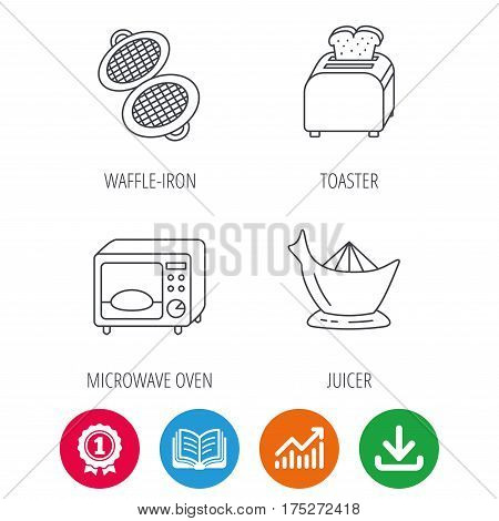 Microwave oven, toaster and juicer icons. Waffle-iron linear sign. Award medal, growth chart and opened book web icons. Download arrow. Vector