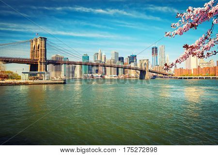 Brooklyn bridge and Manhattan at spring, New York City