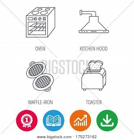 Oven, toaster and waffle-iron icons. Kitchen hood linear sign. Award medal, growth chart and opened book web icons. Download arrow. Vector