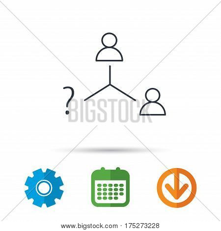Vacancy or hire job icon. Teamwork sign. Question mark symbol. Calendar, cogwheel and download arrow signs. Colored flat web icons. Vector