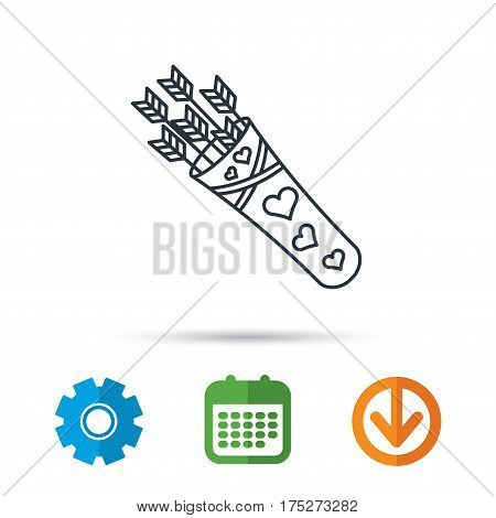 Cupid arrows icon. Love weapon sign. Calendar, cogwheel and download arrow signs. Colored flat web icons. Vector