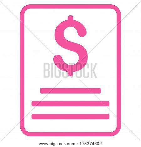 Invoice Budget vector pictograph. Illustration style is a flat iconic pink symbol on white background.