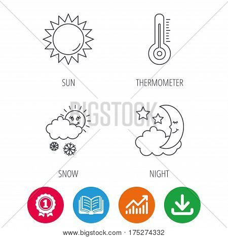 Thermometer, sun and snow icons. Moon night linear sign. Award medal, growth chart and opened book web icons. Download arrow. Vector