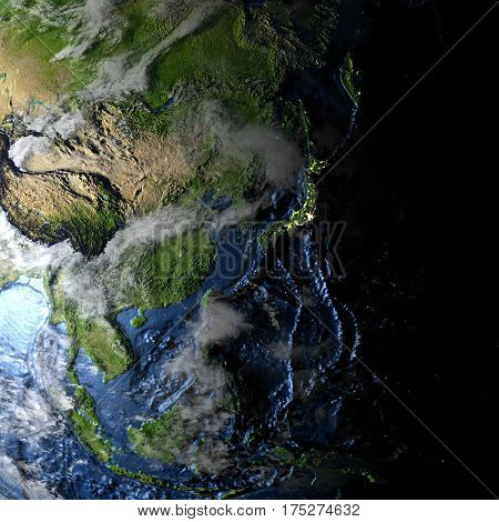 Australasia On Earth - Visible Ocean Floor