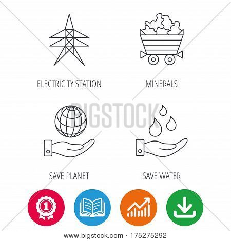 Save water, planet and electricity station icons. Minerals linear sign. Award medal, growth chart and opened book web icons. Download arrow. Vector