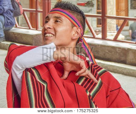 Man Dancing Traditional Ecuadorian Indigenous Dance