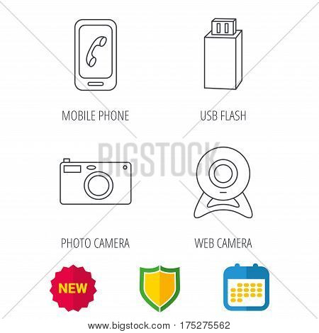 Photo camera, mobile phone and Usb flash icons. Web camera linear sign. Shield protection, calendar and new tag web icons. Vector