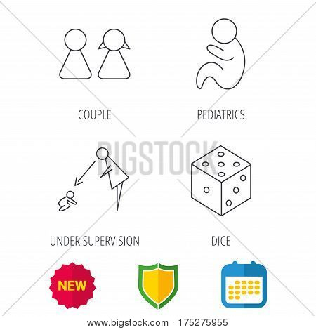 Couple, paediatrics and dice icons. Under supervision linear sign. Shield protection, calendar and new tag web icons. Vector
