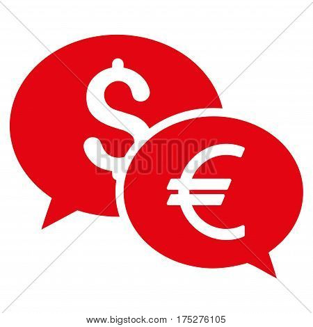 Currency Transfer Chat vector pictograph. Illustration style is a flat iconic red symbol on white background.