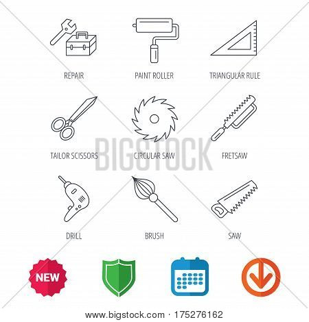 Scissors, paint roller and repair tools icons. Fretsaw, circular saw and brush linear signs. Triangular rule, drill icons. New tag, shield and calendar web icons. Download arrow. Vector