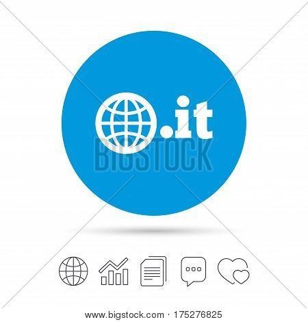 Domain IT sign icon. Top-level internet domain symbol with globe. Copy files, chat speech bubble and chart web icons. Vector