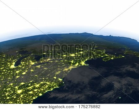 East Coast Of Canada At Night On Planet Earth