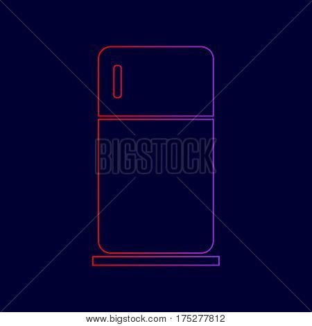 Refrigerator sign illustration. Vector. Line icon with gradient from red to violet colors on dark blue background.