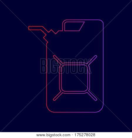 Jerrycan oil sign. Jerry can oil sign. Vector. Line icon with gradient from red to violet colors on dark blue background.