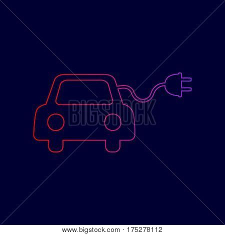 Eco electric car sign. Vector. Line icon with gradient from red to violet colors on dark blue background.