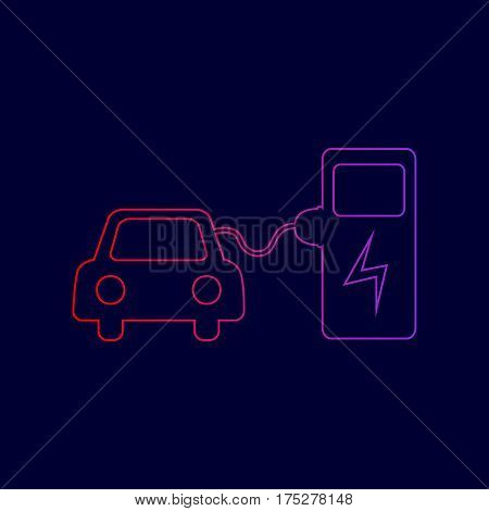 Electric car battery charging sign. Vector. Line icon with gradient from red to violet colors on dark blue background.