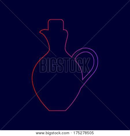 Amphora sign illustration. Vector. Line icon with gradient from red to violet colors on dark blue background.