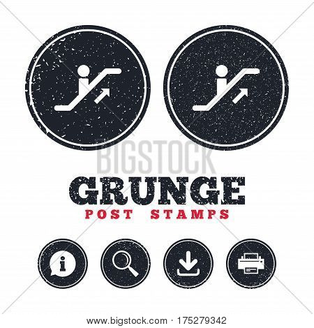 Grunge post stamps. Escalator staircase icon. Elevator moving stairs up symbol. Information, download and printer signs. Aged texture web buttons. Vector