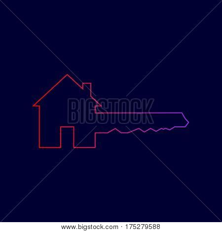 Home Key sign. Vector. Line icon with gradient from red to violet colors on dark blue background.