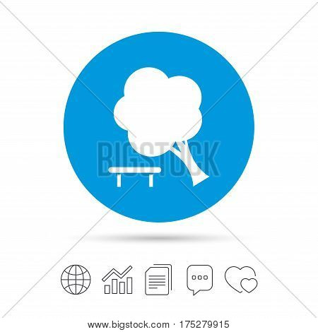 Falling tree sign icon. Caution break down tree symbol. Copy files, chat speech bubble and chart web icons. Vector
