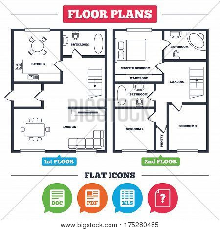 Architecture plan with furniture. House floor plan. File document and question icons. XLS, PDF and DOC file symbols. Download or save doc signs. Kitchen, lounge and bathroom. Vector