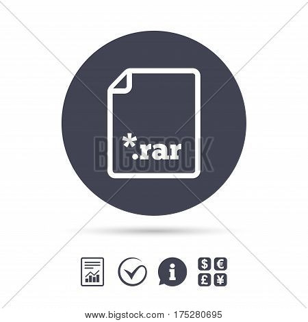 Archive file icon. Download compressed file button. RAR zipped file extension symbol. Report document, information and check tick icons. Currency exchange. Vector
