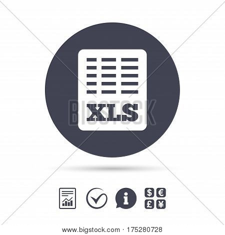 Excel file document icon. Download xls button. XLS file symbol. Report document, information and check tick icons. Currency exchange. Vector