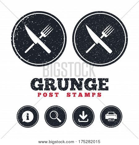 Grunge post stamps. Food sign icon. Cutlery symbol. Knife and fork. Information, download and printer signs. Aged texture web buttons. Vector