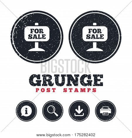 Grunge post stamps. For sale sign icon. Real estate selling. Information, download and printer signs. Aged texture web buttons. Vector