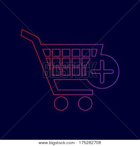 Shopping Cart with add Mark sign. Vector. Line icon with gradient from red to violet colors on dark blue background.