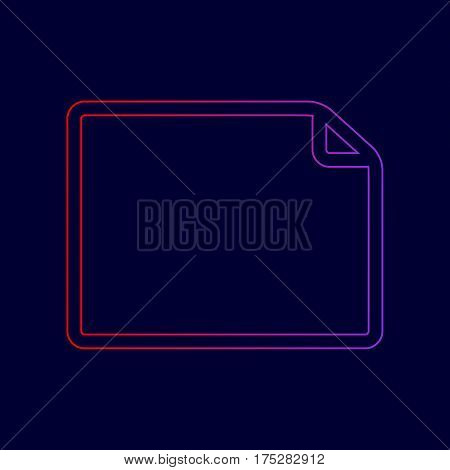 Horisontal document sign illustration. Vector. Line icon with gradient from red to violet colors on dark blue background.
