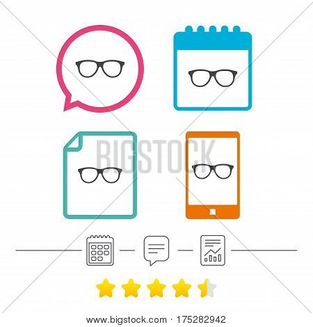 Retro glasses sign icon. Eyeglass frame symbol. Calendar, chat speech bubble and report linear icons. Star vote ranking. Vector