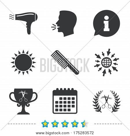 Hairdresser icons. Scissors cut hair symbol. Comb hair with hairdryer symbol. Barbershop laurel wreath winner award. Information, go to web and calendar icons. Sun and loud speak symbol. Vector