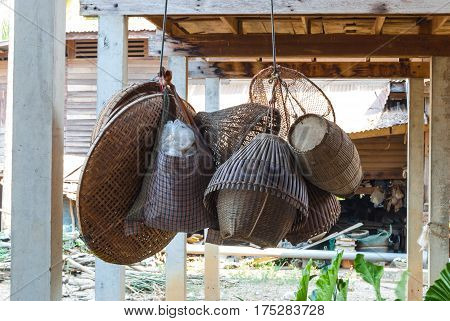 Many Pieces of Rural Fishing Tools in Thailand