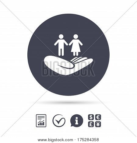Couple life insurance sign. Hand holds human group symbol. Health insurance. Report document, information and check tick icons. Currency exchange. Vector